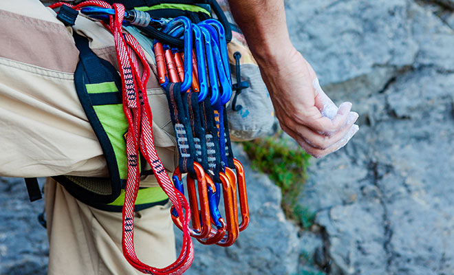 carabiners on harness