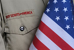 boy scout shirt and flag