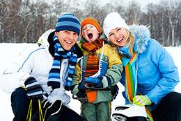 Family enjoying winter day